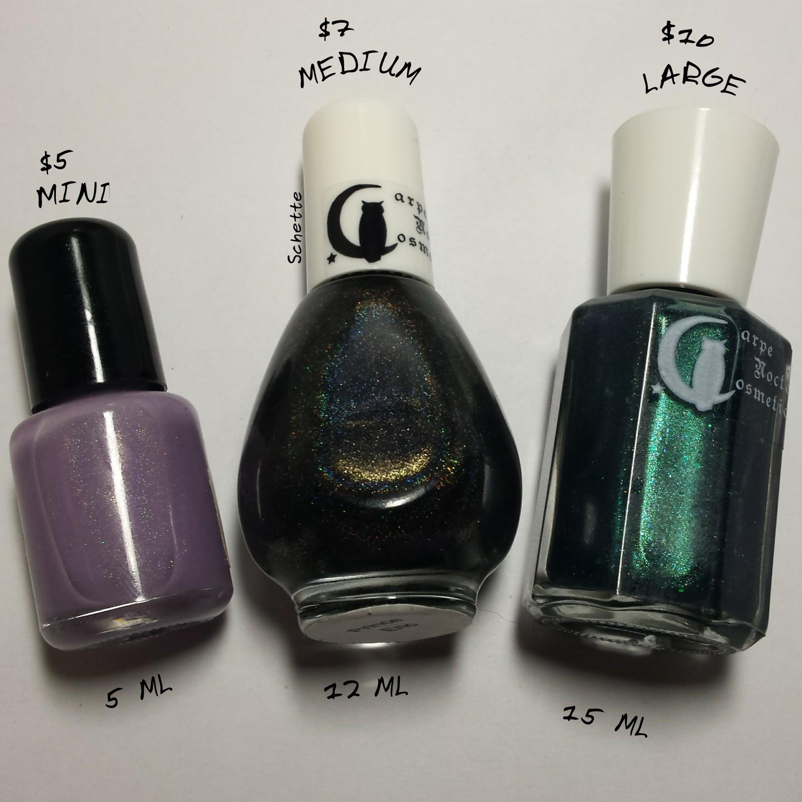 Carpe Noctem Cosmetics - Comparison of bottles