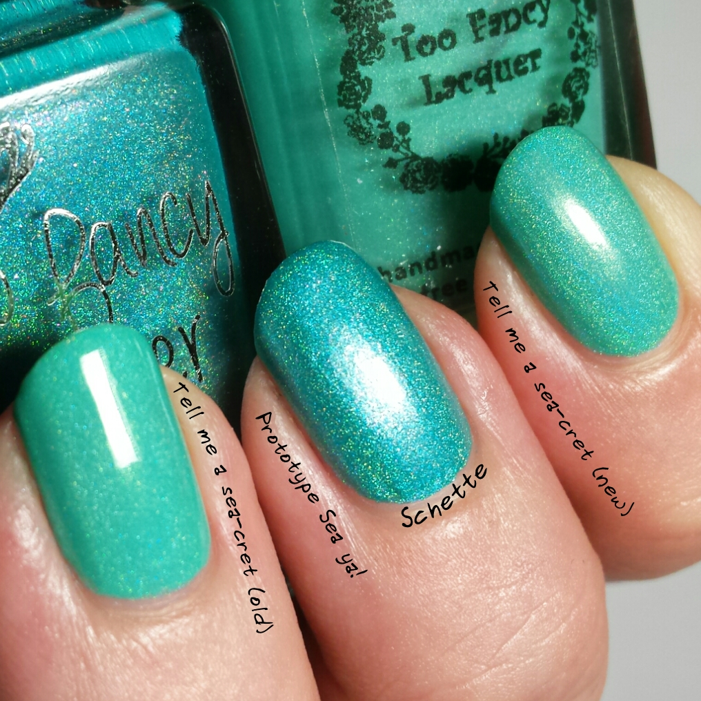 Too Fancy Lacquer : Mint Comparison