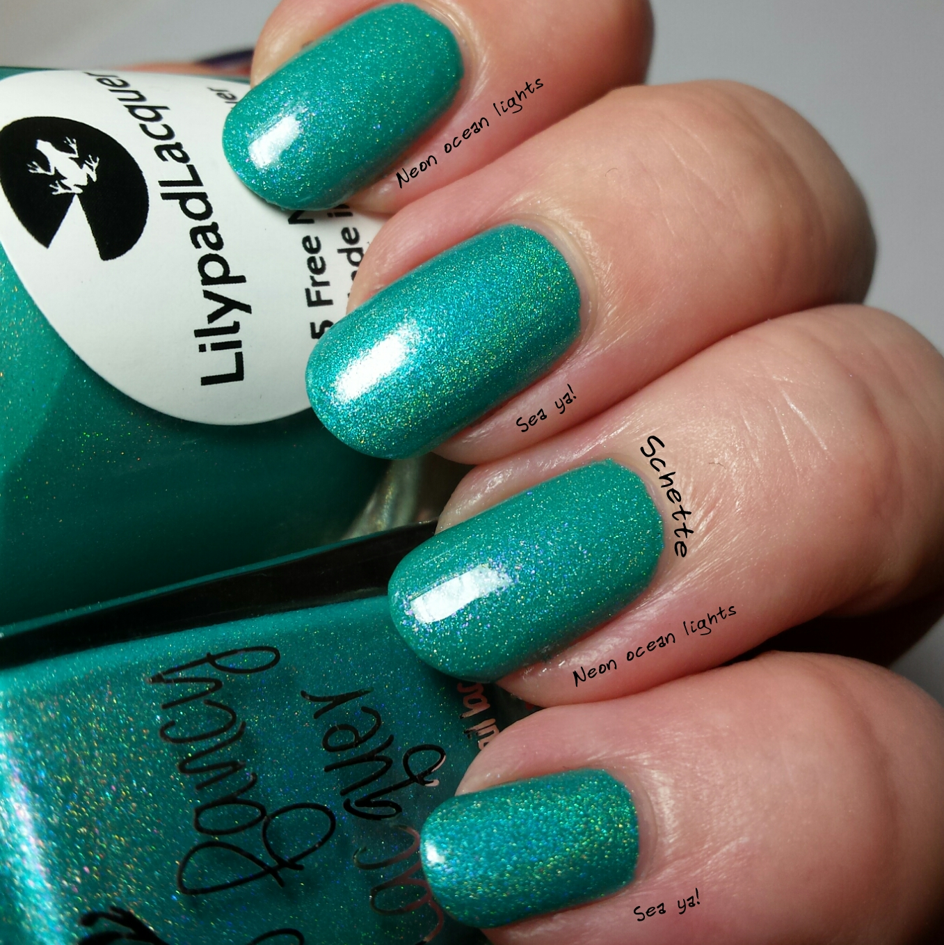 Comparison Too Fancy Lacquer Sea ya / Lilypad Lacquer Neon Ocean Lights