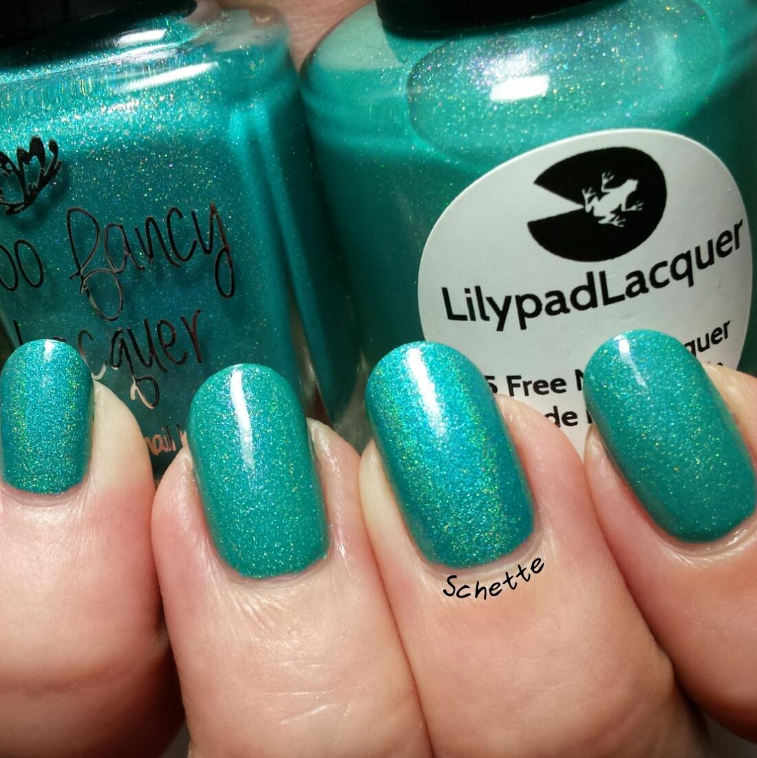 Comparison Too Fancy Lacquer Sea ya / Lilypad Lacquer Neon Ocean Lights