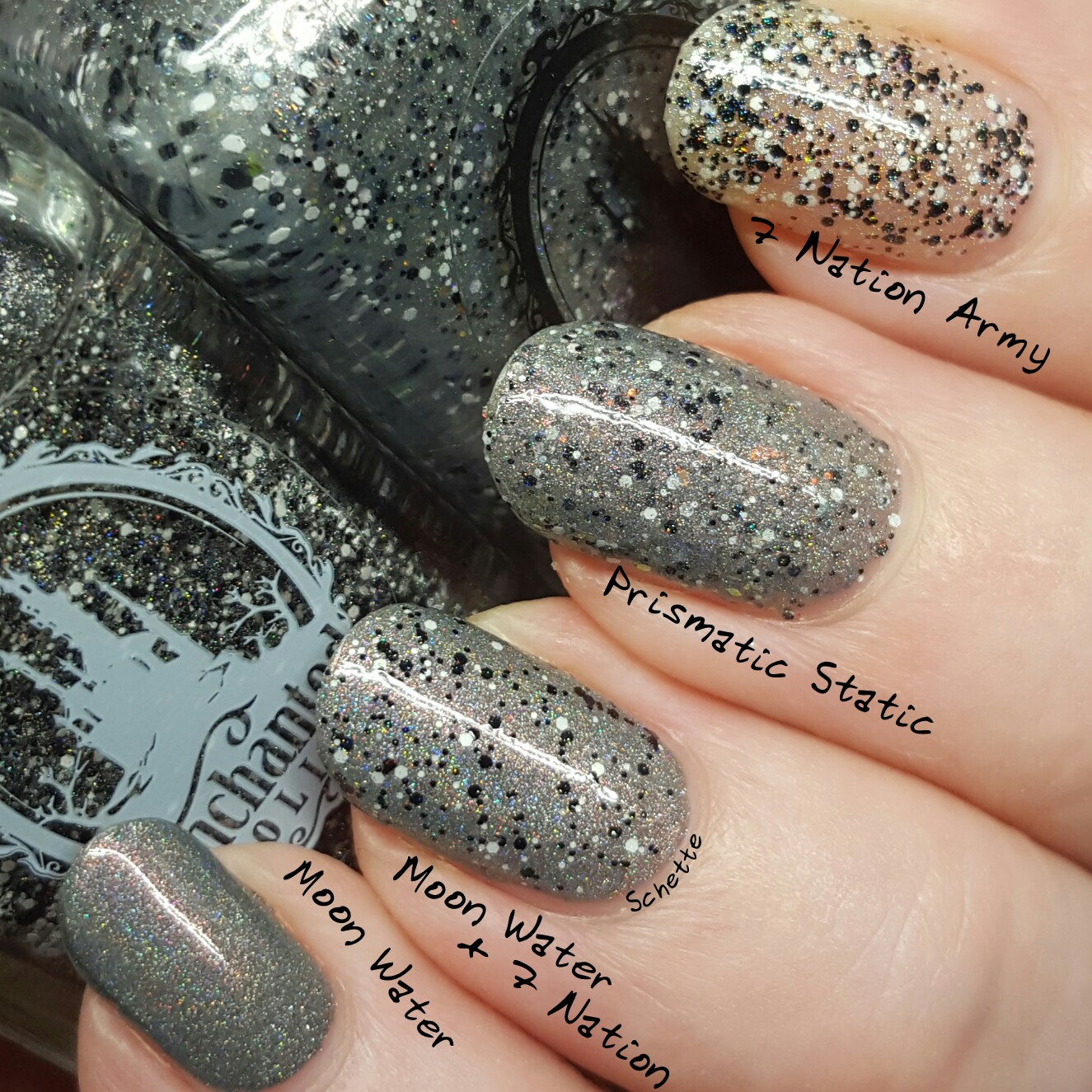 Enchanted Polish : Comparison Prismatic Static Vs Seven Nation Army + Moon Water